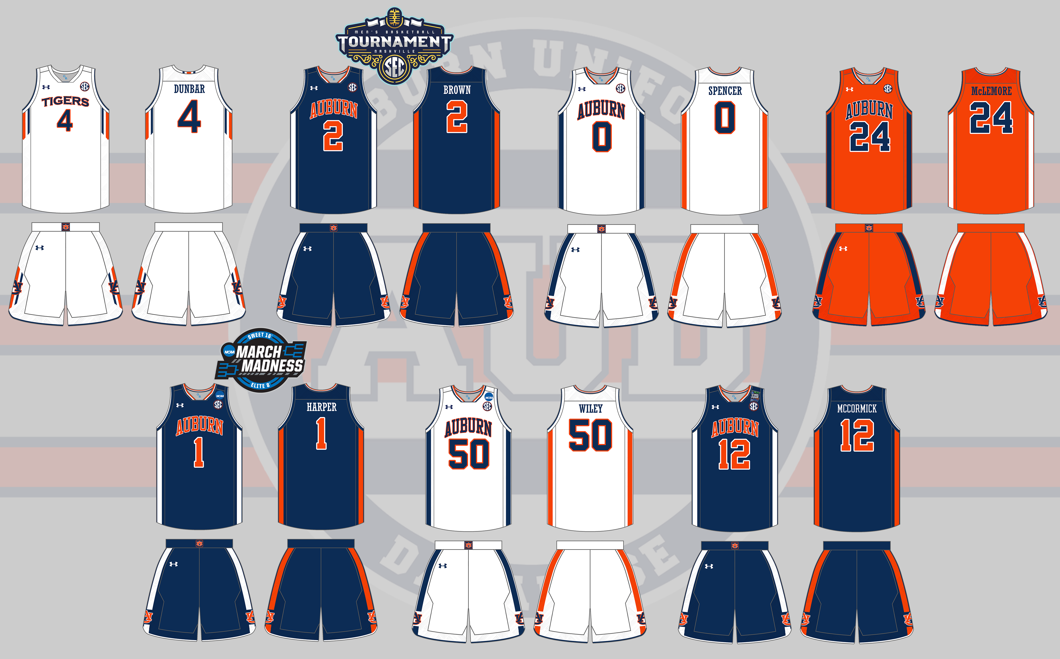 2012 Auburn Under Armour Basketball Uniforms