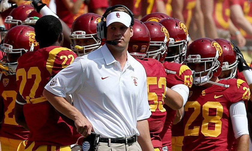 Los Angeles Memorial Colosseum fire lane turned into a Fire Lane Kiffin lane.
